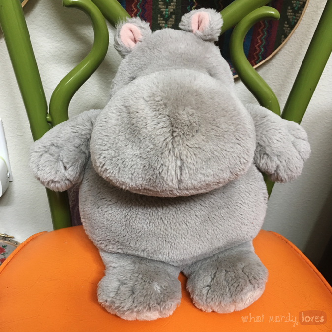 What Mandy Loves: Image of Harold the stuffed animal hippo on a chair via www.whatmandyloves.com