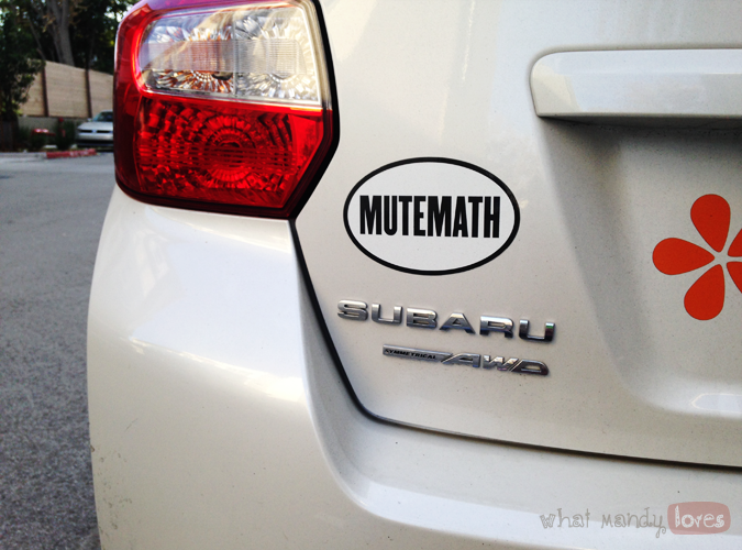 What Mandy Loves: Image of my Mutemath bumper sticker on my car via www.whatmandyloves.com