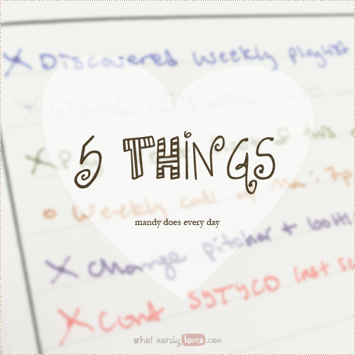 List: 5 Things I Do Every Day via www.whatmandyloves.com